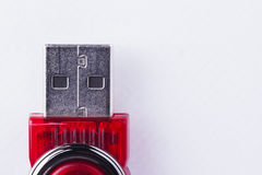 Red USB Flash Drive on White Background Stock Photos