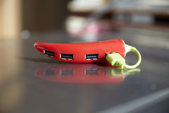 A red USB Hub with four ports Royalty Free Stock Photography