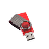 Red USB stick or flash drive isolated on white background Royalty Free Stock Photography