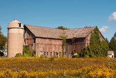 Red ut Autumn Barn arkivfoton