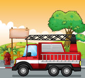 A red utility truck and the signboard at the street. Illustration of a red utility truck and the signboard at the street Stock Photos