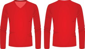 Red v neck long sleeve t shirt Stock Photography