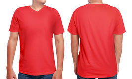 Red V-Neck shirt design template. Red t-shirt mock up, front and back view, isolated. Male model wear plain red shirt mockup. V-Neck shirt design template. Blank royalty free stock photography