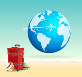 Red Vacation Travel Suitcase on Sunny Beach with Globe. And airplane flying across. Voyage and getaway concept to a tropical paradise beach vacation in the sun royalty free illustration