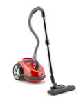 Red vacuum cleaner  on white background Royalty Free Stock Photos