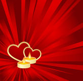 Red  Valentine background. Red Valentine background with golden hearts and candle. Vector illustration Stock Photos