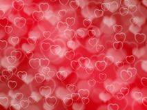 Red valentine background with boke and hearts. Abstract redvalentine background with boke effect and hearts vector illustration