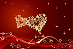 Red Valentine Background With Bows and Hearts. Royalty Free Stock Images