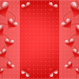 Red Valentine background with hearts. Romantic Valentine background with hearts and dots Royalty Free Illustration
