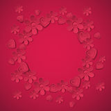 Red valentine background with many flowers,  vecto Royalty Free Stock Images