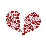 Red valentine broken hearth love symbols in big hearth shape eps10 Royalty Free Stock Images