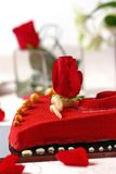 Red valentine cake Stock Image