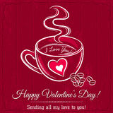 Red valentine card with cup of hot drink Royalty Free Stock Photography