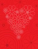 Red Valentine card with floral heart. Red decorative Valentine card with floral heart vector illustration