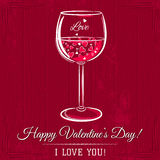 Red valentine card with glass of wine and wishes Royalty Free Stock Photography