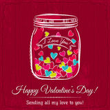 Red valentine card with jar filled with heart Royalty Free Stock Photos