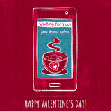 Red valentine card with smart phone,  vector Royalty Free Stock Photo