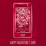 Red valentine card with smartphone and roses Royalty Free Stock Photos