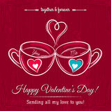 Red valentine card with two cup of hot drink Royalty Free Stock Photo