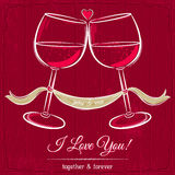 Red valentine card with two glass of wine Stock Photography