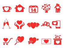 Red valentine day icons set. Isolated red valentine day icons set from white background Stock Photos