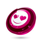 Red valentine face button Stock Photography