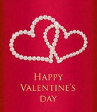 Red Valentine gift card with entwined hearts Royalty Free Stock Image