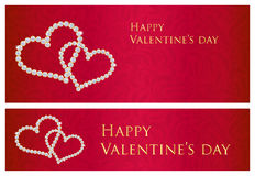 Red Valentine Gift Card With Entwined Hearts Compo Royalty Free Stock Photos