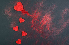 Red valentine glitter hearts Royalty Free Stock Photography