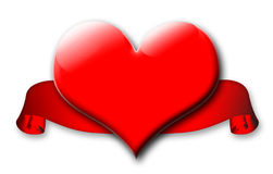 Red valentine heart and banner Royalty Free Stock Photography