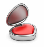 Red valentine heart in box 3D. Isolated Stock Photos