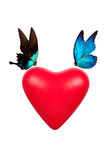 Red valentine heart with butterfly Stock Image