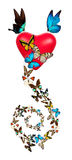 Red valentine heart with butterfly Royalty Free Stock Image