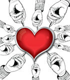 Red valentine heart drawing by hands Stock Image