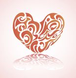 Red valentine heart in floral style isolated. On white background. Vector illustration stock illustration