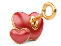 Red valentine heart  with a keyhole and key. Stock Images