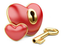 Red valentine heart  with a keyhole and key. Royalty Free Stock Photo