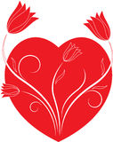Red Valentine Heart and Red Flowers Illustration Royalty Free Stock Image