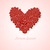 Red valentine heart. In roses on pink background. Vector illustration Royalty Free Illustration