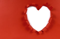 Red valentine heart shape torn paper, white background, copy space Stock Photography