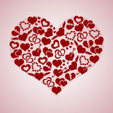 Red valentine hearth love symbols in big hearth shape Royalty Free Stock Photography