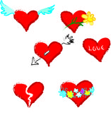 Red valentine hearts. Set of romantic icons, each can be used separately in your designs stock illustration