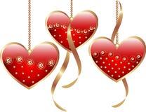 Red valentine hearts stock illustration