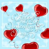 Red Valentine Hearts on blue sky background. Blue sky background with red balloons in the form of heart with lettering Happy Valentines Day, illustration Royalty Free Stock Photo