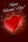 Red Valentine Hearts on Dark Decorative Background Stock Photos