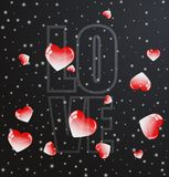 Red valentine hearts flying with love inscription. Realistic 3D colorful black romantic background with red valentine hearts flying with love inscription. Vector Stock Image