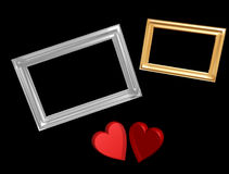 Red valentine hearts with frames. Golden valentine hearts with chrome and gold frames,created and rendered in 3d Stock Images