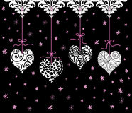 Red Valentine Hearts Hanging in a Row Stock Photos