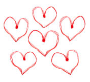 Red valentine hearts. Valentine hearts made with ribbon on white background Royalty Free Stock Images