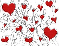 Red Valentine Hearts Pen Doodles. A background pattern featuring a simple doodle pen sketch of hearts with scattered pen marks and scribbles stock illustration